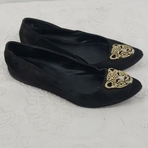Rock & Republic Suede Flats w/ Gold Bling Panther